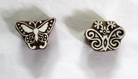 Hand Carved Wooden blocks - Butterfly