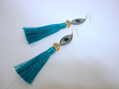Blue Tassle Eye Earrings
