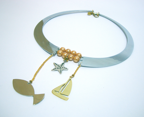 Fish & Boat Necklace