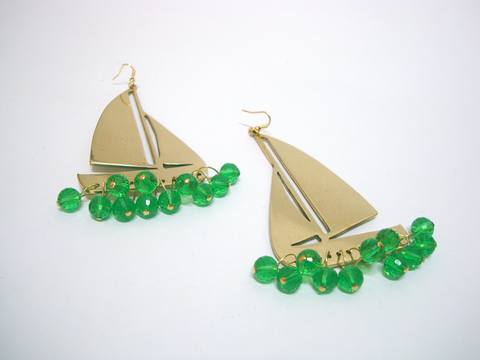 Green Boat Earrings