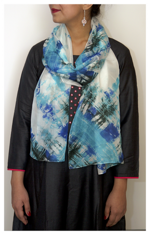 Black & Blues Tie-dye Scarf