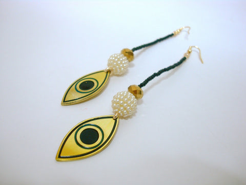 Black & Gold Eye Earrings