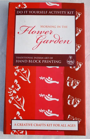 DIY Indian Craft Kit: Hand Block Printing Flower Garden