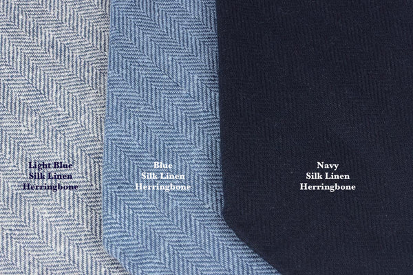 Light Blue Silk Linen Herringbone