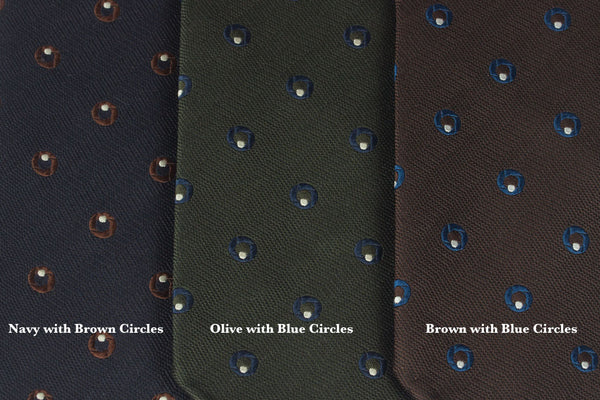 Olive with Blue Circles Bow Tie