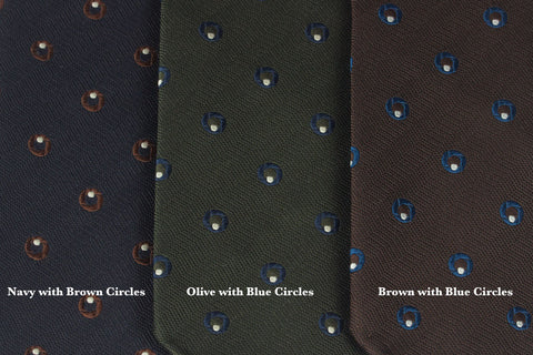 Brown with Blue Circles Bow Tie