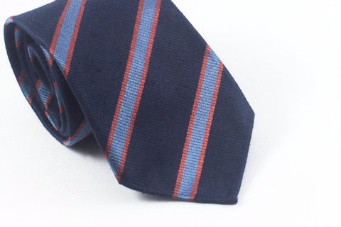 Navy-Orange Brushed Repp