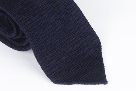 Navy Sawtooth in Wool Silk