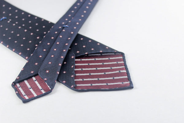 Navy with Red Squares