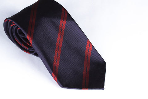 Navy-Red Double Bar Repp