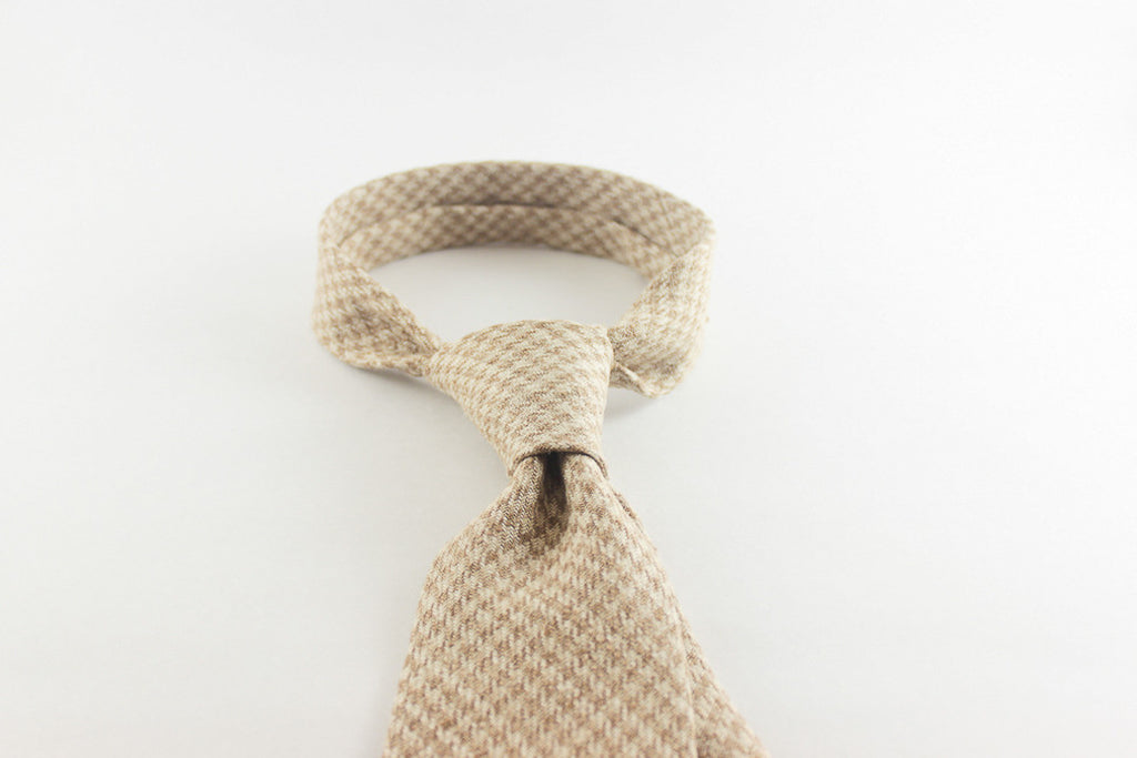 Tan Linen Houndstooth