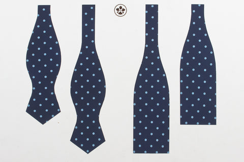 Navy-Light Blue Printed Spots Bow Tie