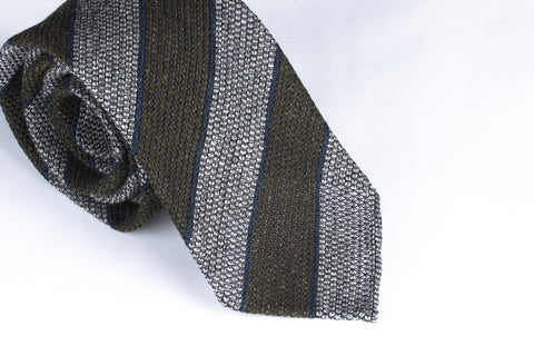 Grey-Olive Grenadine Wool Silk