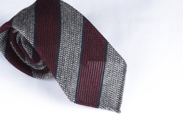 Grey-Burgundy Grenadine Wool Silk
