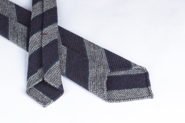 Grey-Navy Grenadine Wool Silk