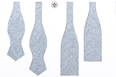 Light Blue Silk Linen Herringbone Bow Tie