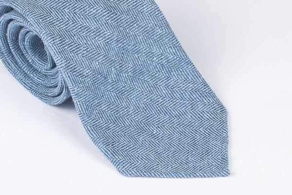 Blue Silk Linen Herringbone