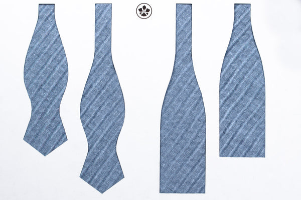 Blue Silk Linen Herringbone Bow Tie