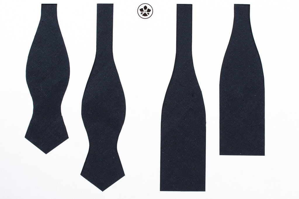 Navy Silk Linen Herringbone Bow Tie