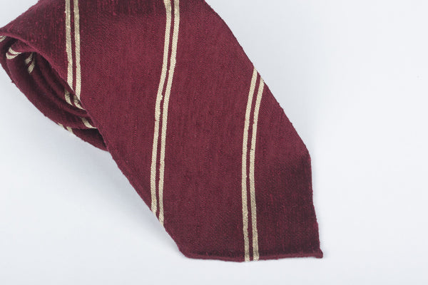 Burgundy-Cream Double Bar Shantung