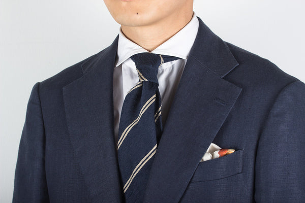 Navy-Cream Double Bar Shantung
