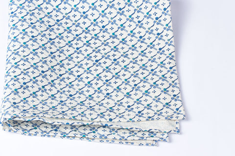 Scarf: Blue on White Flowers
