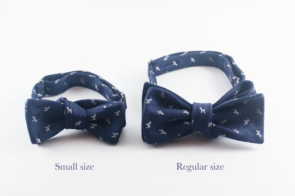 Navy with Grey Flowers Bow Tie