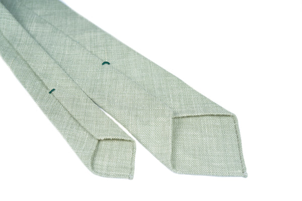 Green White Wool Silk Linen