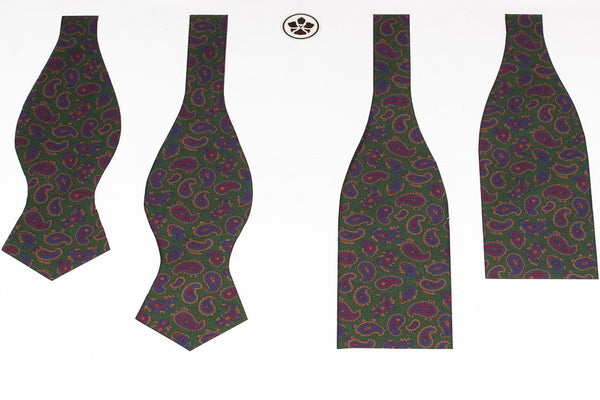 Green Small Madder Paisley Bow Tie