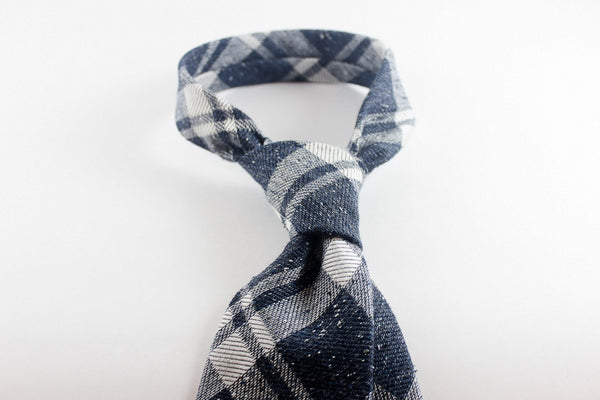 Blue Plaid in Silk Wool