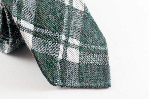 Moss Green Plaid in Silk Wool