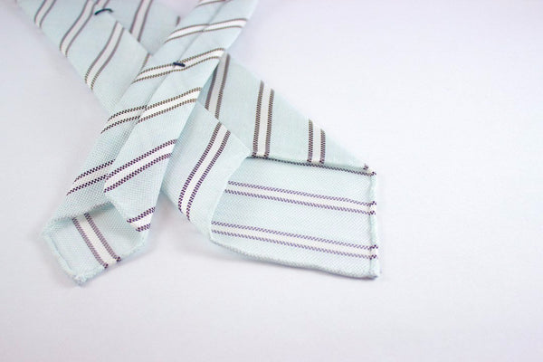 Pale Blue-Brown Stripes in Silk Linen
