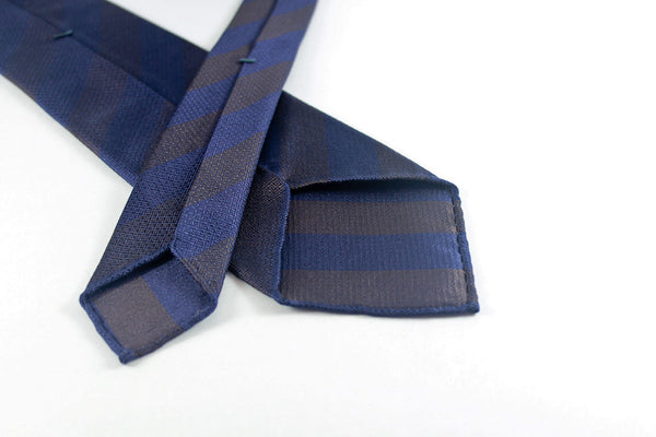 Navy-Brown Block Stripes