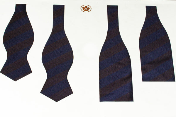 Navy-Brown Block Stripes Bow Tie