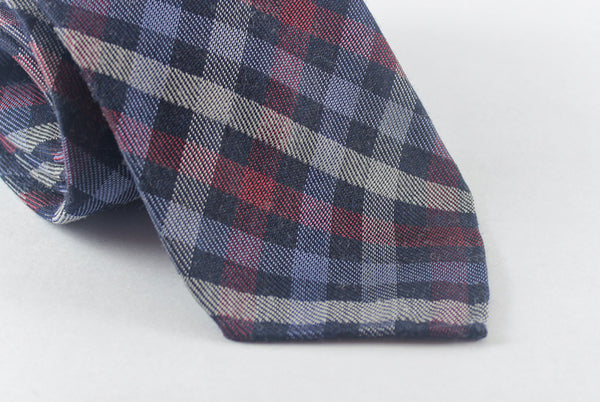 Blue-Red Plaid in Silk Wool