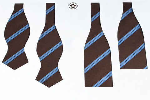 Brown-Blue Double Bar Repp Bow Tie