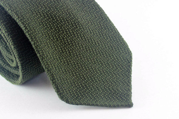 Olive Sawtooth in Wool Silk
