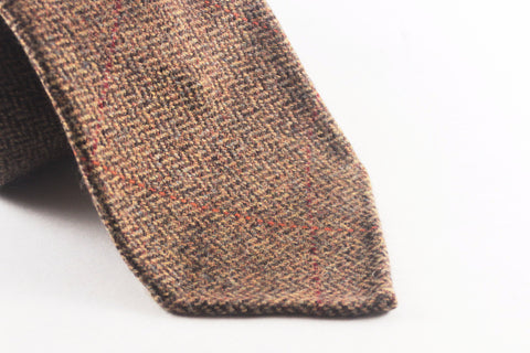 Brown Herringbone Cashmere with Overcheck