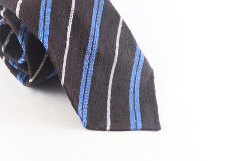 Brown-Blue Striped Shantung