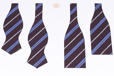 Brown-Blue Striped Shantung Bow Tie