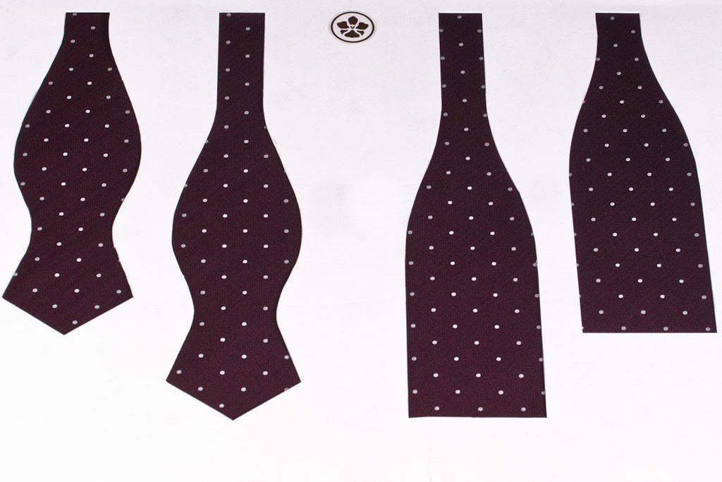 Burgundy-White Dots Bow Tie