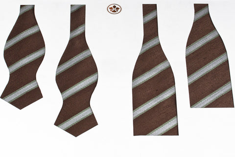 Brown-Mint Brushed Repp Bow Tie