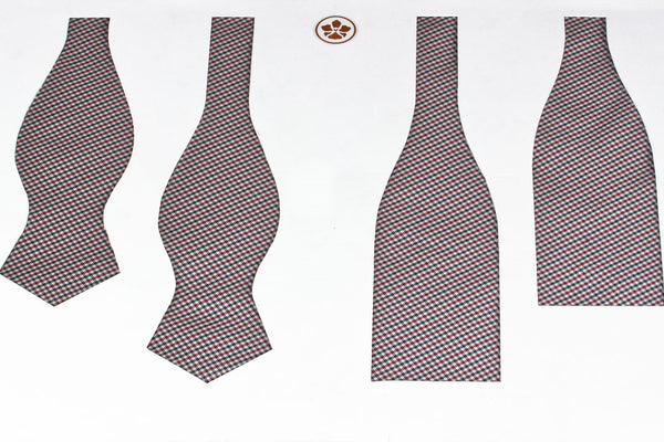 Burgundy-Navy Shepherd's Check Bow Tie