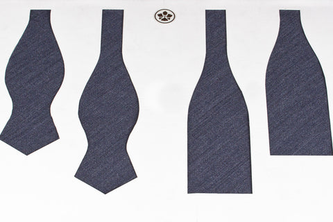 Greyish Blue Plain Weave Bow Tie