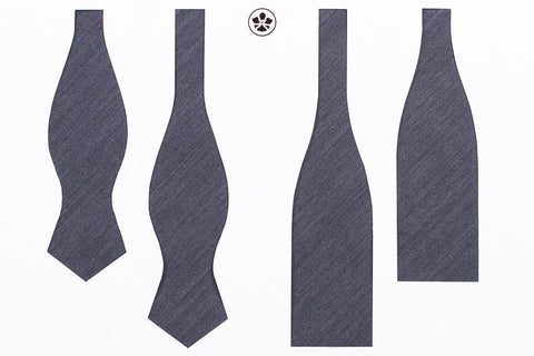Grey Plain Weave Bow Tie