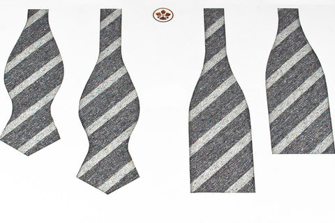 Grey Melange Stripes Bow Tie