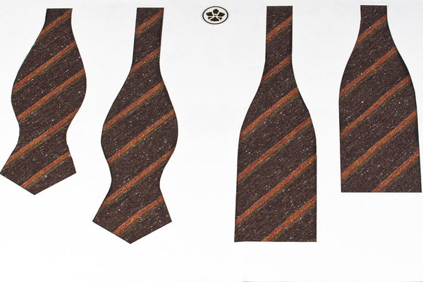 Brown-Orange Vintage Stripes Bow Tie