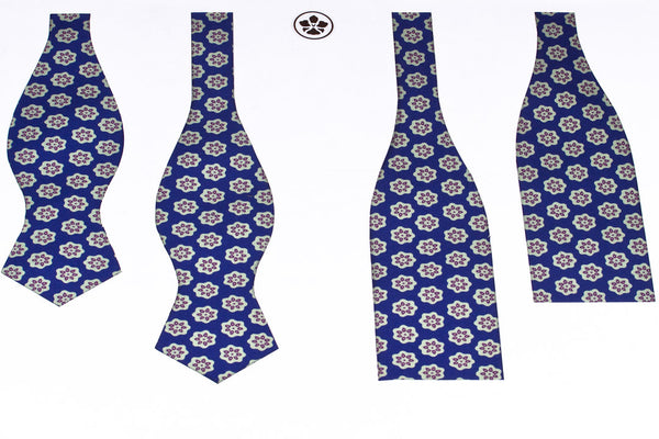 Blue-White Lotus Bow Tie