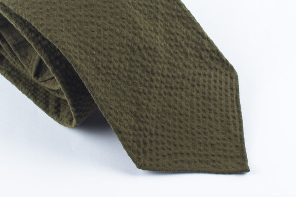 Olive Seersucker in Cotton
