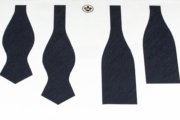 Solid Navy Shantung Bow Tie